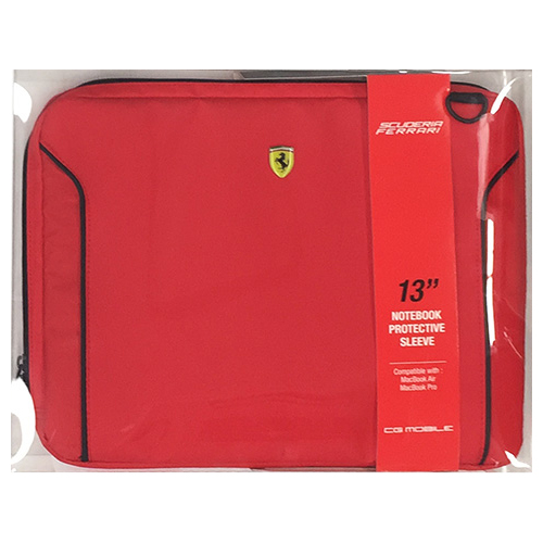 エアージェイ FERRARI 公式ライセンス品 FIORANO Red PU Leather Computer Sleeve 13インチノートパソコン等 FEDA2ICS13RE【代引不可】