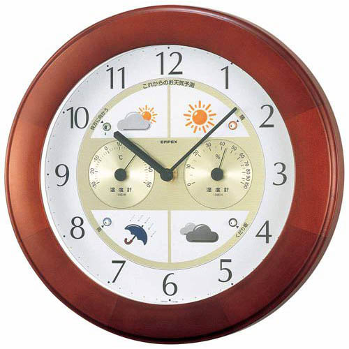 EMPEX 掛け時計 ウォールクロック ウェザーパルII気象台 ブラウン BW-5221【代引不可】
