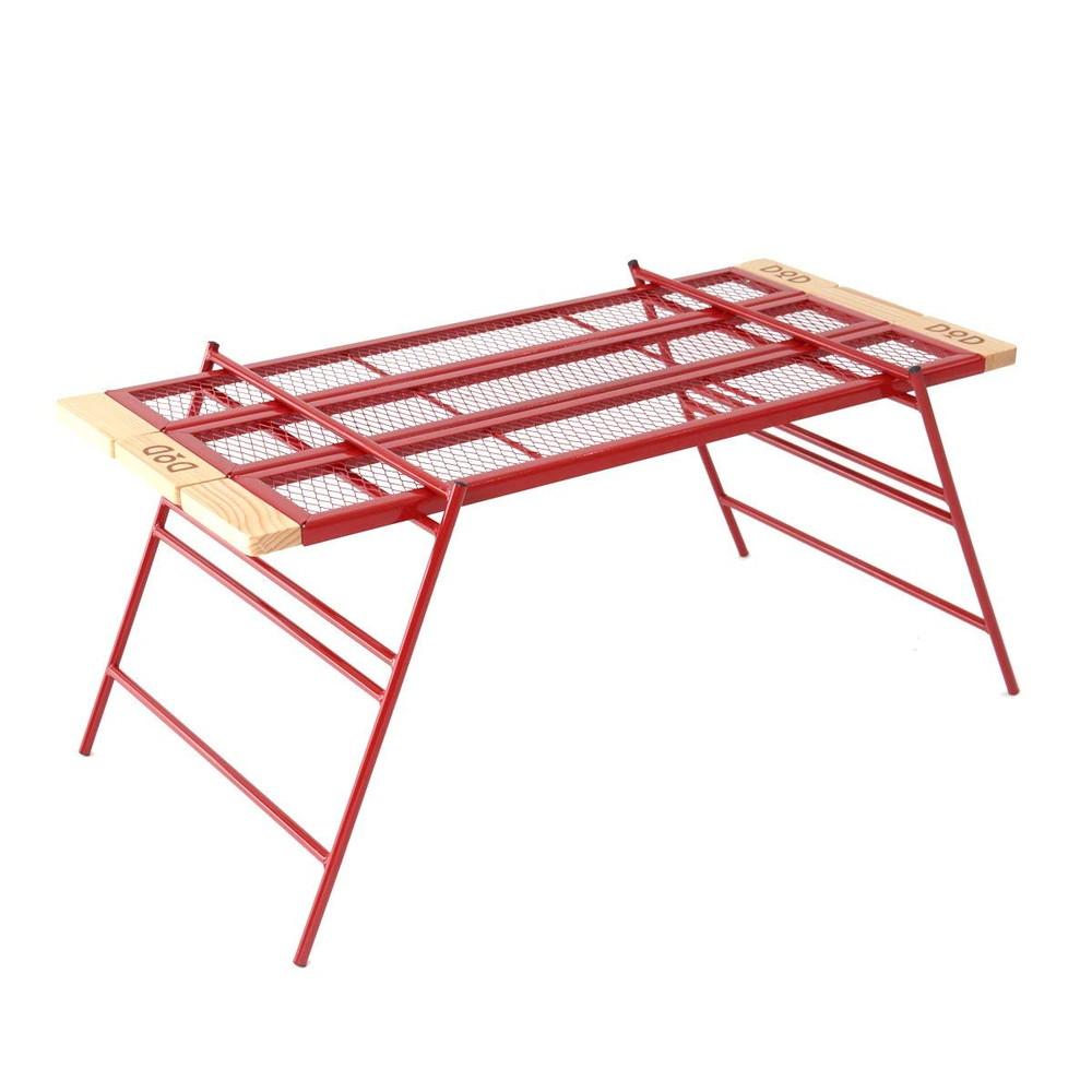 DOD(ディーオーディー) カシステーブル ワンバイ木材 カスタム可能 変形自在パイプテーブル レッド TB4-535-RD【代引不可】