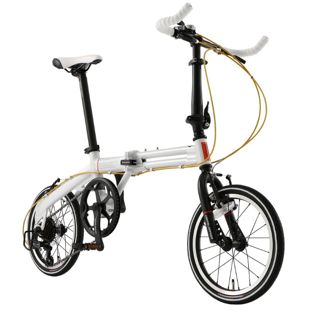 【送料無料】DOPPELGANGER 104-R-WH Light Velocity 折り畳み自転車16インチ・7段変速 プレミアムパールホワイト ホワイト x ブラック 【代引不可】