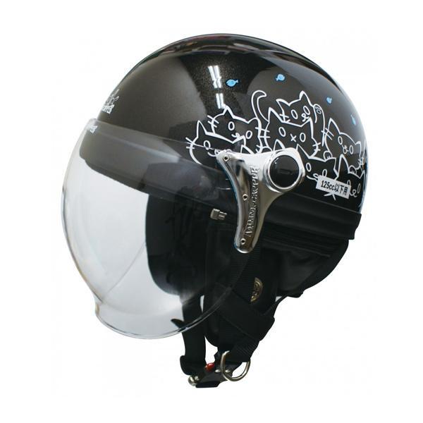 ダムトラックス(DAMMTRAX) カリーナ ハーフ ヘルメット BLACK/CAT 【代引不可】【北海道・沖縄・離島配送不可】
