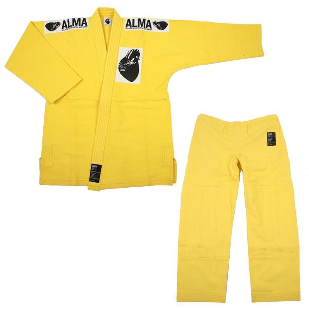 【送料無料】ALMA アルマ レギュラーキモノ 国産柔術衣 A4 黄 上下 JU1-A4-YL 【代引不可】