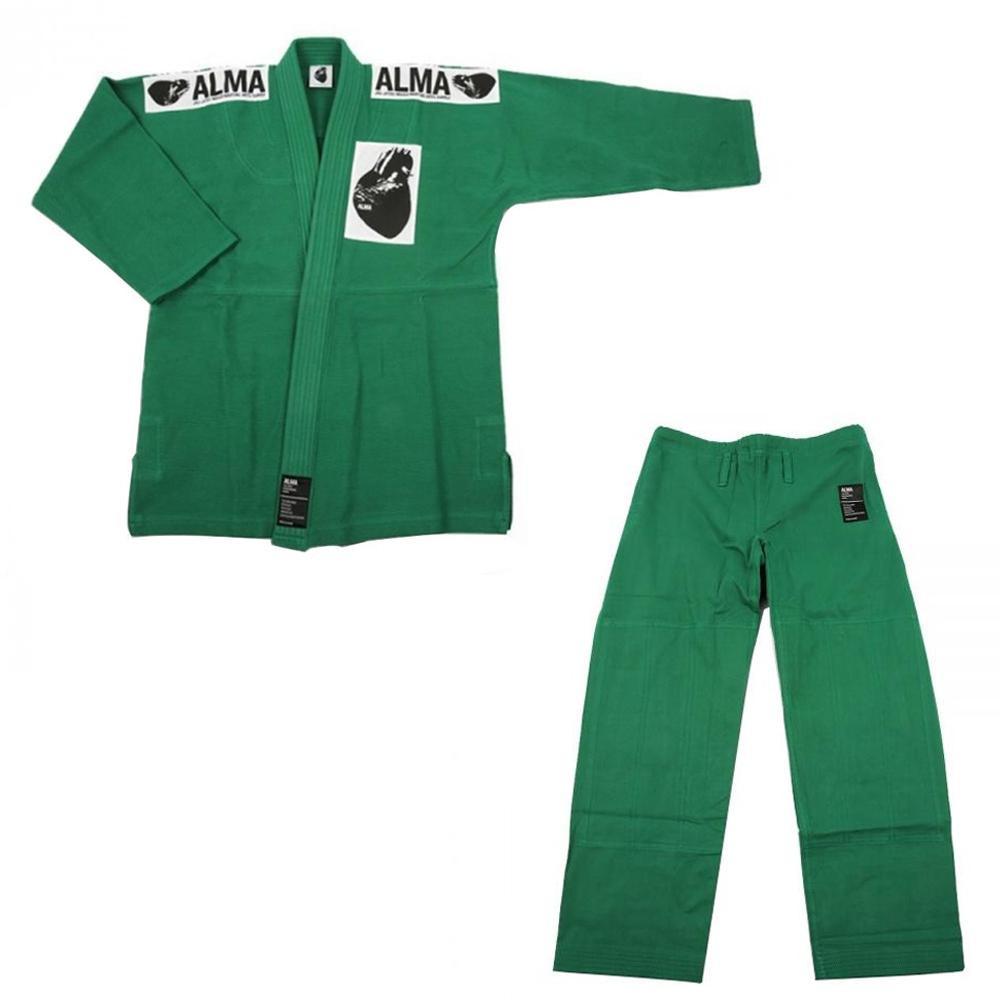 【送料無料】ALMA アルマ レギュラーキモノ 国産柔術衣 M1 緑 上下 JU1-M1-GR 【代引不可】