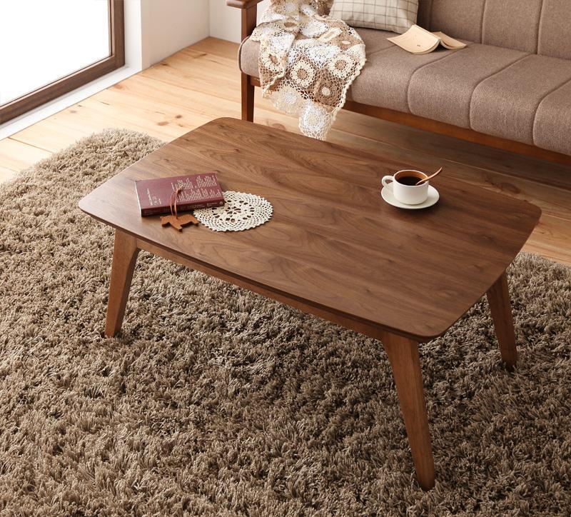 【送料無料】天然木ウォールナット材 北欧デザインこたつテーブル new! 〔Lumikki〕ルミッキ/長方形(90×60) ウォールナットブラウン【代引不可】