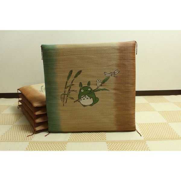 純国産/日本製 捺染返し い草座布団 『のはらトトロ 5枚組』 約55×55cm×5P【代引不可】