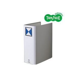 (まとめ)TANOSEE 両開きパイプ式ファイル A4タテ 100mmとじ グレー 10冊【代引不可】