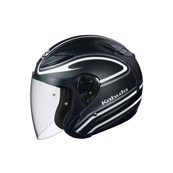 【送料無料】ジェットヘルメット シールド付き AVAND2 STAID フラットブラックホワイト M 〔バイク用品〕【代引不可】