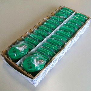 クラウン 親子札 2枚1組・スチロール製 CR-OY150-G 緑 50組1セット【代引不可】【北海道・沖縄・離島配送不可】
