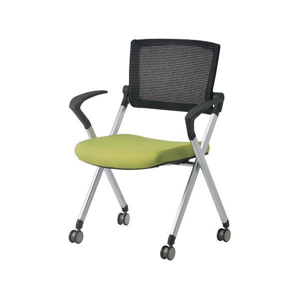ジョインテックス 会議椅子(スタッキングチェア/ミーティングチェア) 肘付き/キャスター付き GK-A90SM グリーン 〔完成品〕【代引不可】