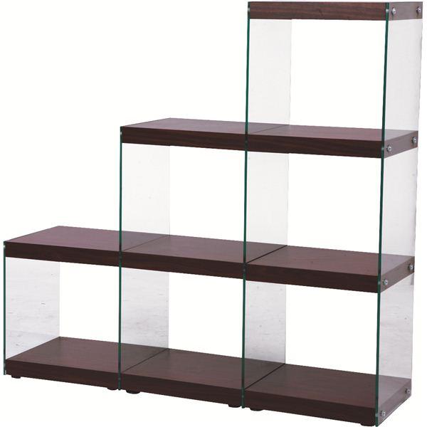 【送料無料】ボックスラック/ステアラック 3段 強化ガラス 幅123cm×高さ121cm HAB-702BR ブラウン【代引不可】