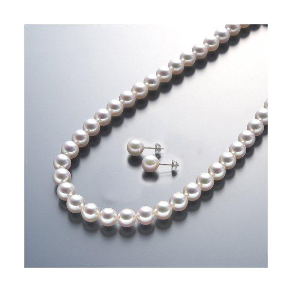 【送料無料】真珠総合研究所 あこや真珠<花珠>8-8.5mmネックレス&ピアスセット【代引不可】