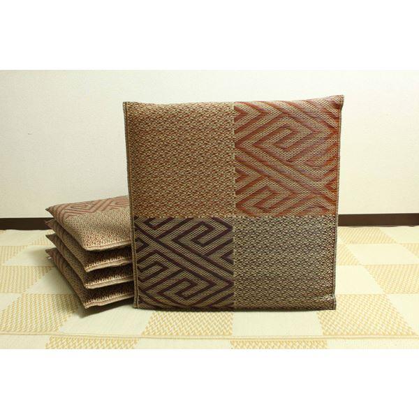 純国産/日本製 織込千鳥 い草座布団 『五風 5枚組』 ブラウン 約55×55cm×5P【代引不可】