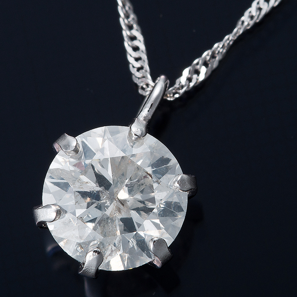 K18WG 0.5ctダイヤモンドペンダント/ネックレス スクリューチェーン【代引不可】【北海道・沖縄・離島配送不可】