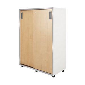 イタリア製 木製3段引き違い デザイン書庫 扉:メープル 本体:ホワイト 1台 740260/740824【代引不可】
