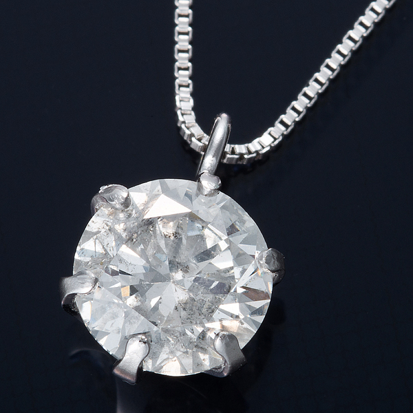 K18WG 0.5ctダイヤモンドペンダント/ネックレス ベネチアンチェーン(鑑別書付き)【代引不可】【北海道・沖縄・離島配送不可】