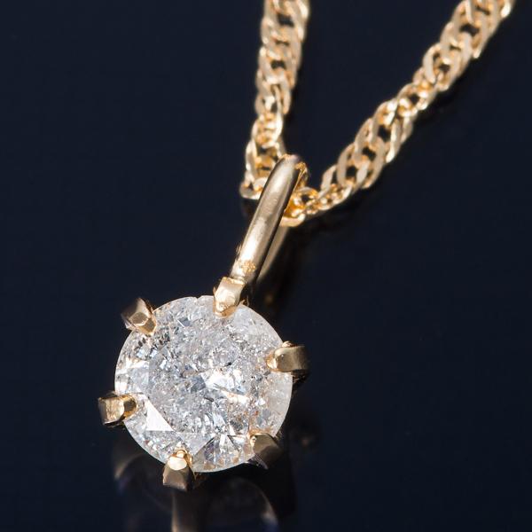 K18 0.1ctダイヤモンドペンダント/ネックレス スクリューチェーン【代引不可】【北海道・沖縄・離島配送不可】