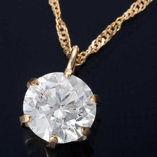K18 0.5ctダイヤモンドペンダント/ネックレス スクリューチェーン【代引不可】【北海道・沖縄・離島配送不可】