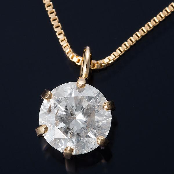 【送料無料】K18 0.3ctダイヤモンドペンダント/ネックレス ベネチアンチェーン(鑑定書付き)【代引不可】