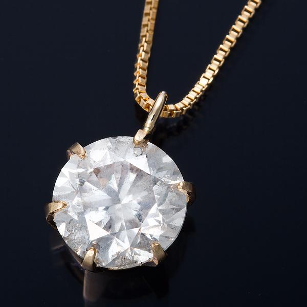 K18 1ctダイヤモンドペンダント/ネックレス ベネチアンチェーン(鑑定書付き)【代引不可】【北海道・沖縄・離島配送不可】