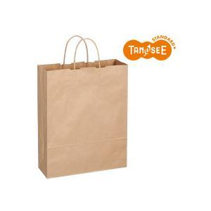 (まとめ)TANOSEE 手提袋 丸紐 茶無地・大 50枚入×6パック【代引不可】【北海道・沖縄・離島配送不可】