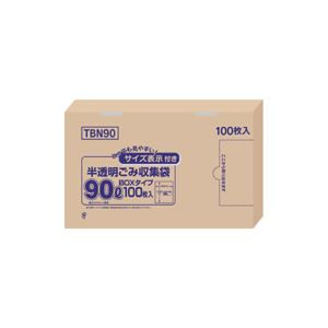 (まとめ)容量表示入りポリ袋 90L 100枚入×4箱【代引不可】【北海道・沖縄・離島配送不可】