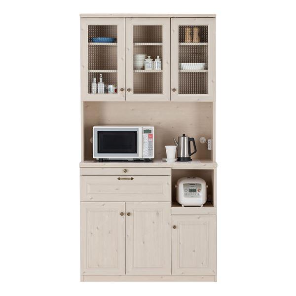 【送料無料】ユーアイ NEO MARGOTT(マーゴット) 食器棚105 (上台オープン+下台オープン) ホワイト木目〔2個口〕 K-105HOP + K-105LOP【代引不可】