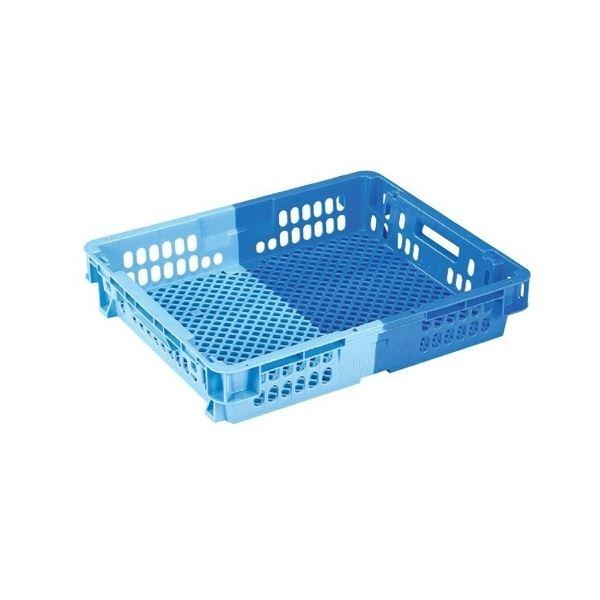 〔10個セット〕 業務用コンテナボックス/食品用コンテナー 〔NF-M26C浅〕 ダークブルー/ブルー 材質:PP【代引不可】
