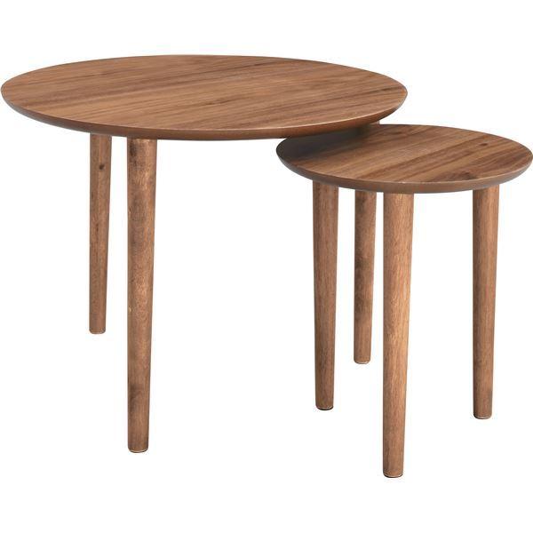 【送料無料】天然木ラウンドネストテーブル/入れ子テーブル 〔円形 直径60cm・直径37cm〕 ウォールナット 『トムテ』 TAC-224WAL【代引不可】