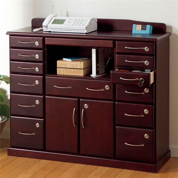 ファックス台/電話台 「全段鍵付き家具シリーズ」 〔幅96cm〕 木製 スライドテーブル付き【代引不可】