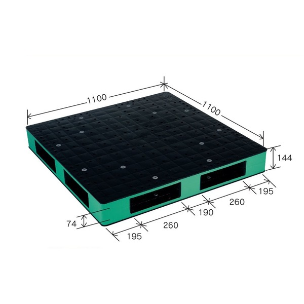 カラープラスチックパレット/物流資材 〔1100×1100mm ブラック/グリーン〕 両面使用 HB-R4・1111SC 岐阜プラスチック工業【代引不可】【北海道・沖縄・離島配送不可】