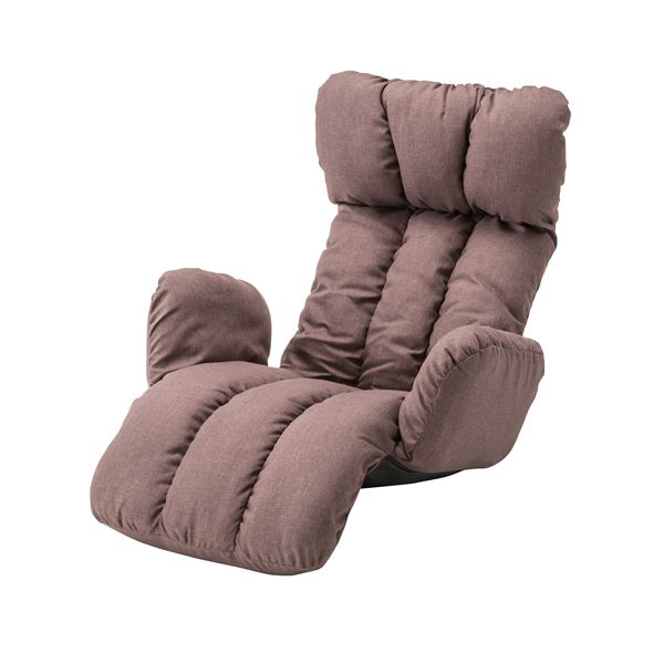 【送料無料】うたた寝チェア(座椅子/リクライニングチェア) ブラウン 肘付き 折りたたみ可 LSS-28BR【代引不可】