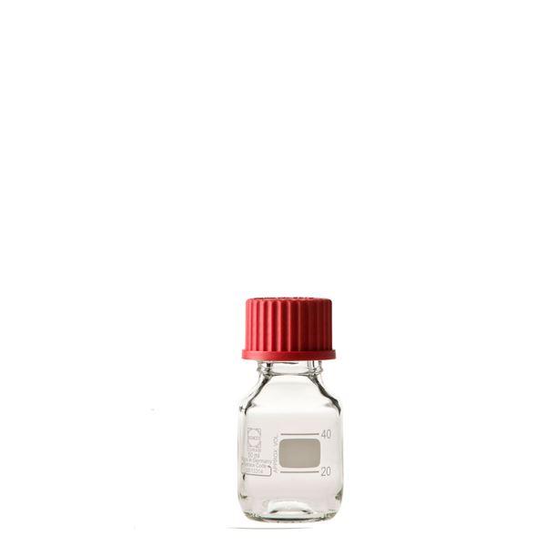 【送料無料】〔柴田科学〕ねじ口びん(メジュームびん) 赤キャップ付 50mL〔10個〕【代引不可】
