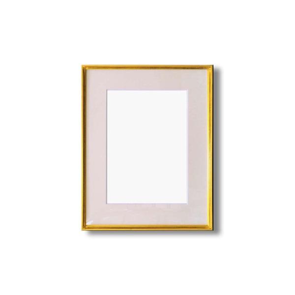 【送料無料】水彩額縁/フレーム 〔F6号/ゴールド〕 壁掛けひも/アクリル/マット付き 化粧箱入り 9736【代引不可】