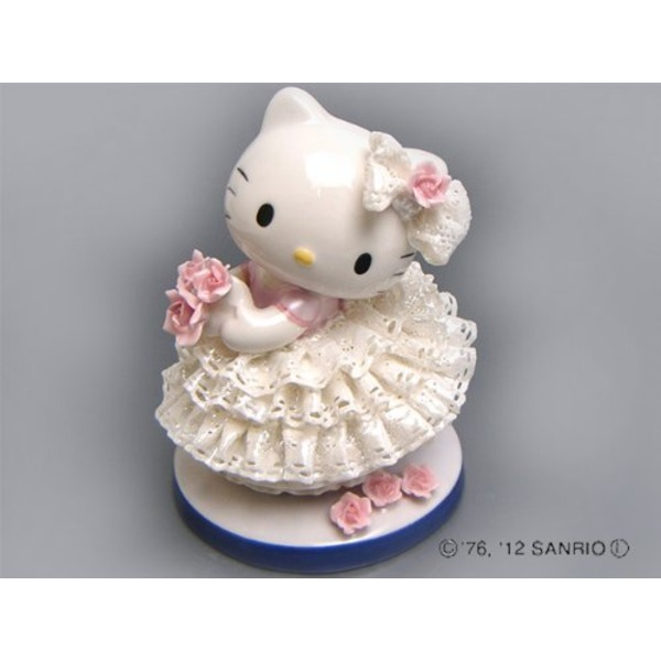 HeLLo Kitty ハローキティ レースドール/陶製人形 〔ホワイト〕 磁器 高さ14×ベース径11cm 日本製【代引不可】【北海道・沖縄・離島配送不可】