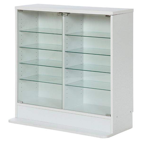 【送料無料】ガラスコレクションケース ロータイプ 浅型 WH ホワイト 【代引不可】