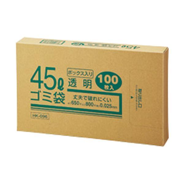 【送料無料】(まとめ) クラフトマン 業務用透明 メタロセン配合厚手ゴミ袋 45L BOXタイプ HK-096 1箱(100枚) 〔×10セット〕【代引不可】