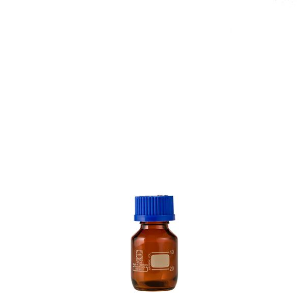 【送料無料】〔柴田科学〕ねじ口びん(メジュームびん) 茶褐色 青キャップ付 50mL〔10個〕【代引不可】