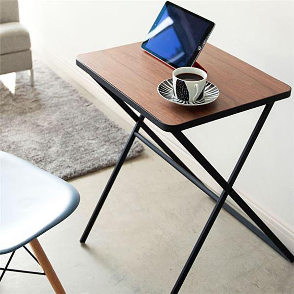 折りたたみテーブル/ローテーブル 〔ブラック〕 幅50cm 天然木 〔リビング エントランス キッチン 台所〕 【代引不可】
