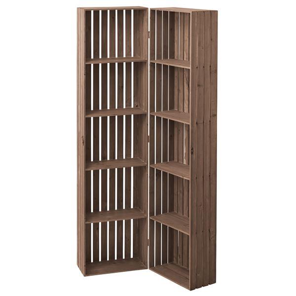 【送料無料】木製トレノ ボックスシェルフ(食器棚/本棚) 幅80cm ハイタイプ 開閉可 CCR-117 〔ディスプレイ家具 什器〕【代引不可】