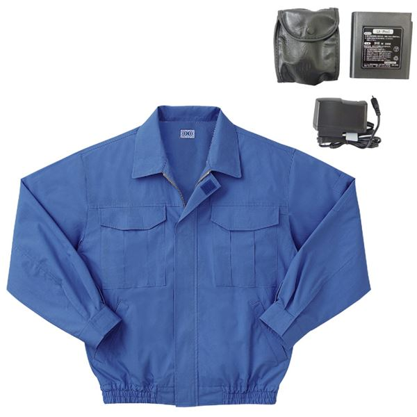 【送料無料】空調服 綿薄手長袖作業着 M-500U 〔カラーライトブルー: サイズLL〕 リチウムバッテリーセット【代引不可】