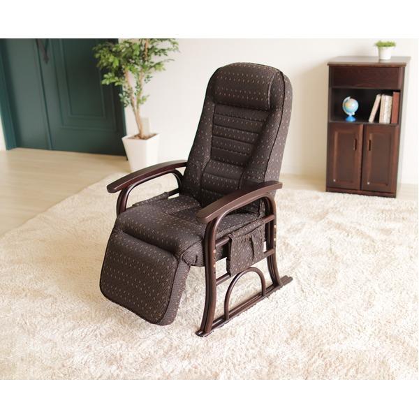 漣-さざなみ- ラタンフットレスト付き高座椅子 リクライニングチェア ブラウン【代引不可】