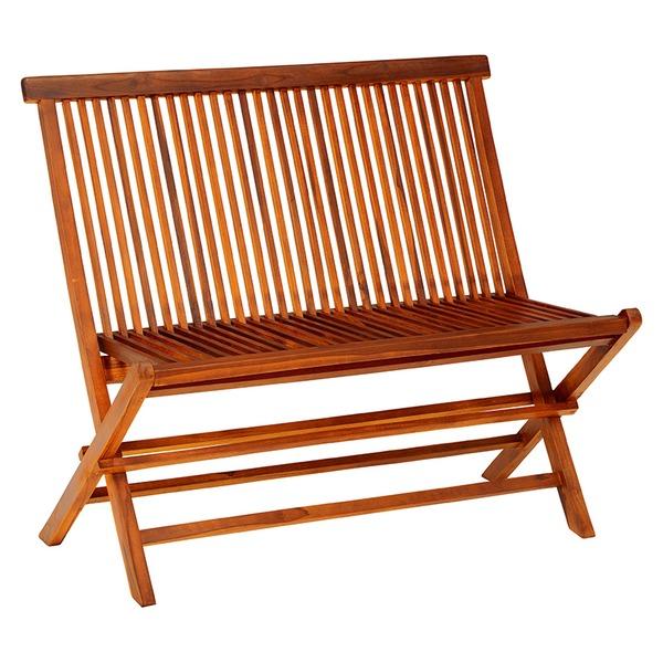 【送料無料】ガーデンベンチチェア 〔折りたたみ可〕 幅101cm 木製/チーク材 【代引不可】