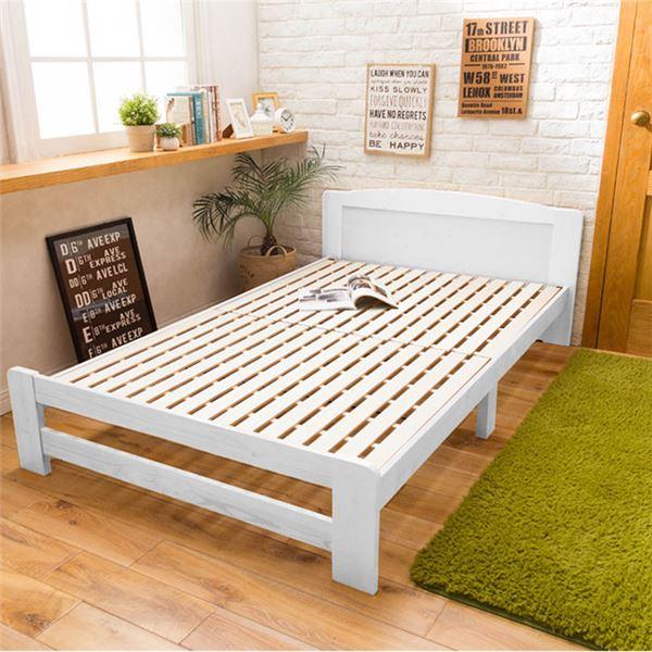 【送料無料】〔フレームのみ〕 天然木すのこベッド 〔セミダブル〕 木製 パイン材 ホワイト【代引不可】