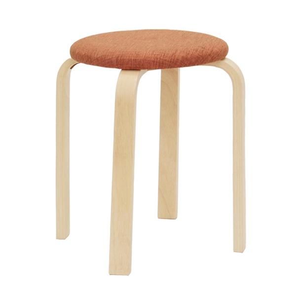 スタッキングスツール/丸椅子 〔同色5脚セット〕 座面:ファブリック布地 木製脚 OR オレンジ 〔完成品〕【代引不可】