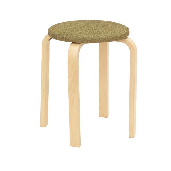 スタッキングスツール/丸椅子 〔同色5脚セット〕 座面:ファブリック布地 木製脚 GR グリーン(緑) 〔完成品〕【代引不可】