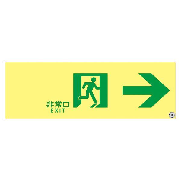 高輝度蓄光通路誘導標識 非常口→ ASN901【代引不可】【北海道・沖縄・離島配送不可】