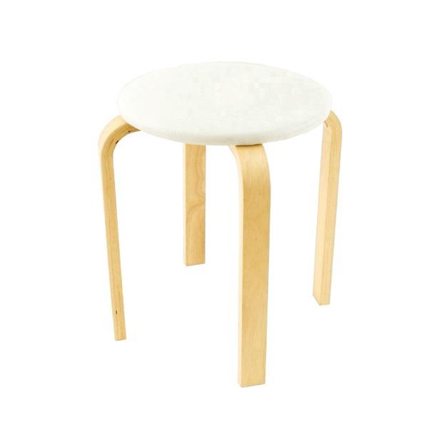 スタッキングスツール/丸椅子 〔同色5脚セット〕 座面:合成皮革(合皮) 木製脚 アイボリー 〔完成品〕【代引不可】
