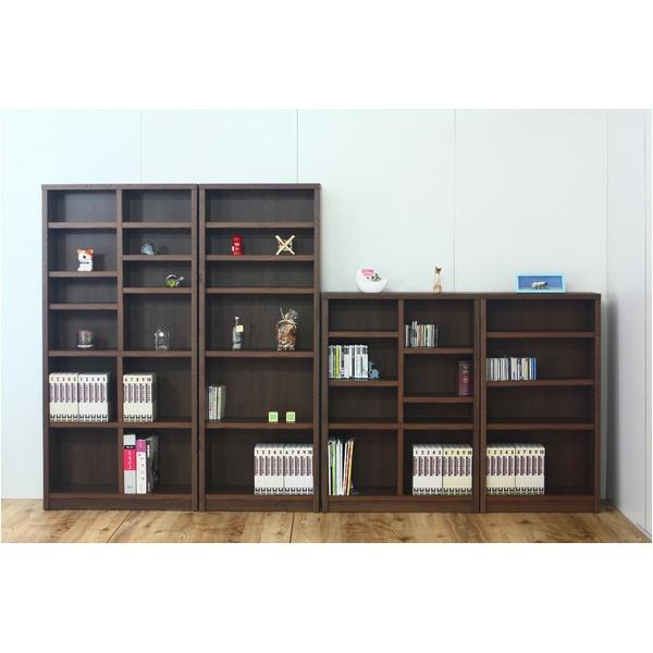 【送料無料】本棚/ブックシェルフ 〔幅90cm〕 高さ120cm 可動棚板4枚付き 木目調 日本製 ブラウン 〔完成品〕【代引不可】