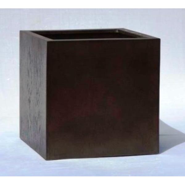【送料無料】木目調樹脂製鉢カバー MOKU キューブ 40cm【代引不可】
