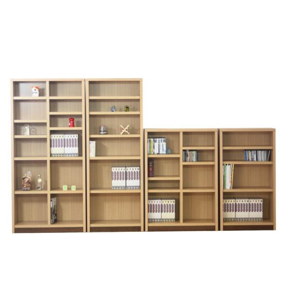 【送料無料】本棚/ブックシェルフ 〔幅90cm〕 高さ120cm 可動棚板4枚付き 木目調 日本製 ナチュラル 〔完成品〕【代引不可】